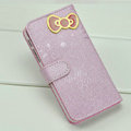 Hello Kitty Side Flip leather Case Holster Cover Skin for iPhone 5 - Purple
