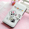 Hello Kitty Side Flip leather Case Holster Cover Skin for iPhone 5 - White 02