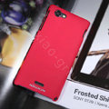 Nillkin Matte Hard Cases Covers for Sony Ericsson ST26i Xperia J - Red (High transparent screen protector)