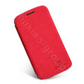 Nillkin leather Cases Holster Covers Skin for Samsung I9260 GALAXY Premier - Red (High transparent screen protector)