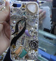Bling Swarovski crystal cases Bowknot diamond covers for iPhone 5 - White