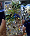 Bling Swarovski crystal cases Flower diamond cover skin for iPhone 5 - Green