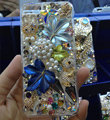 Bling Swarovski crystal cases Maple Leaf diamond cover for iPhone 5 - Blue