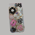 Bling Swarovski crystal cases Pumpkin Trojan diamond cover for iPhone 5 - Pink