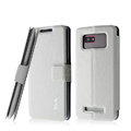 IMAK Slim leather Case holder Holster Cover for HTC T528w One SU - White
