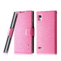 IMAK Slim leather Case holder Holster Cover for LG P765 Optimus L9 - Pink