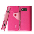 IMAK cross leather case Button holster holder cover for Nokia Lumia 820 - Rose