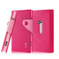 IMAK cross leather case Button holster holder cover for Nokia Lumia 920 - Rose