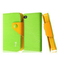 IMAK cross leather case Button holster holder cover for iPhone 4G/4S - Green
