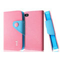 IMAK cross leather case Button holster holder cover for iPhone 4G/4S - Pink