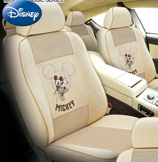 buy wholesale disney mickey mouse stretch mesh custom auto car seat cover set beige from. Black Bedroom Furniture Sets. Home Design Ideas