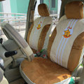 Disney Winnie the pooh Universal Auto Car Seat Cover Set Short velvet 10pcs - Brown