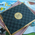 LV Louis Vuitton Grid Leather Case Holster Cover for iPad 2 - Blue