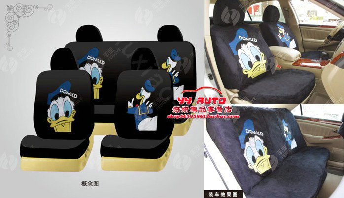 buy wholesale disney donaldduck custom auto car seat cover set suede black from chinese. Black Bedroom Furniture Sets. Home Design Ideas