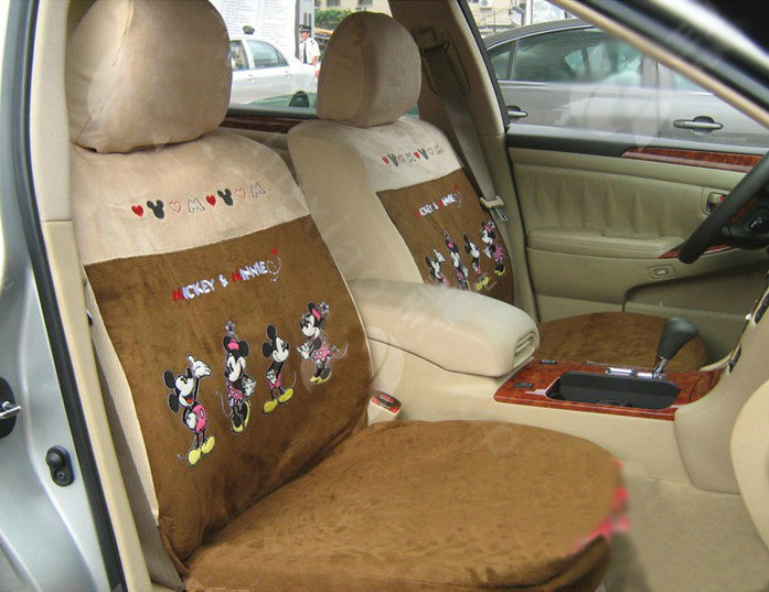 buy wholesale disney mickey minnie mouse custom auto car seat cover set suede brown from. Black Bedroom Furniture Sets. Home Design Ideas