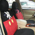 Disney Mickey Mouse Suede Custom Auto Car Seat Cover Set - Red Black