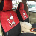 Disney Snoopy Custom Auto Car Seat Cover Set Suede - Red Black