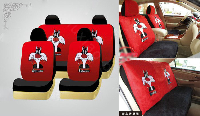 buy wholesale disney tweety bird custom auto car seat cover set suede black red from chinese. Black Bedroom Furniture Sets. Home Design Ideas