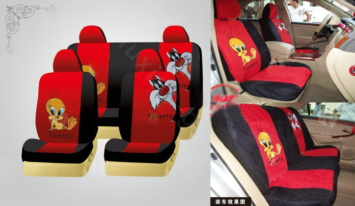 buy wholesale disney tweety bird custom auto car seat cover set suede red black from chinese. Black Bedroom Furniture Sets. Home Design Ideas