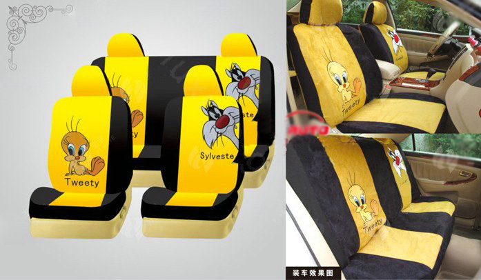 buy wholesale disney tweety bird custom auto car seat cover set suede yellow black from. Black Bedroom Furniture Sets. Home Design Ideas