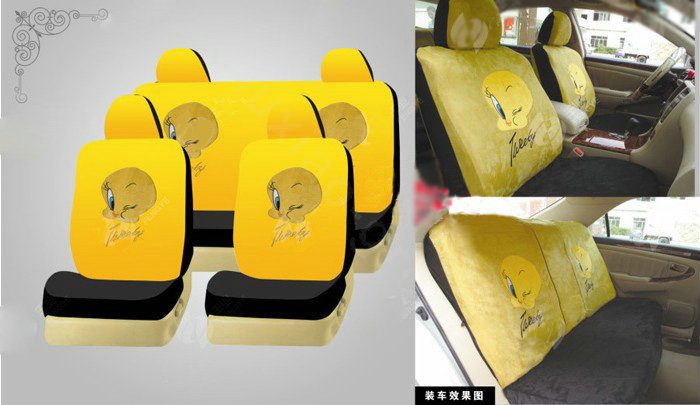 buy wholesale disney tweety bird custom auto car seat cover set suede yellow from chinese. Black Bedroom Furniture Sets. Home Design Ideas