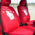 Hello Kitty Universal Auto Car Seat Cover Set Cotton 10pcs - Red