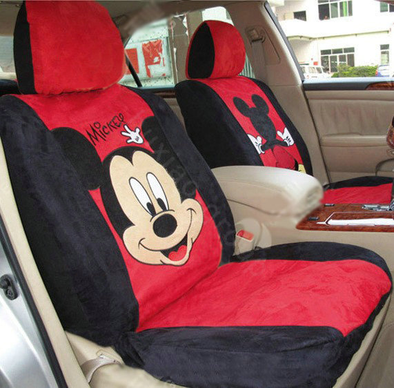 buy wholesale disney mickey mouse suede custom auto car seat cover set beige brown from. Black Bedroom Furniture Sets. Home Design Ideas