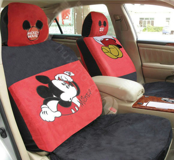 buy wholesale mickey mouse disney custom auto car seat cover set suede black red from chinese. Black Bedroom Furniture Sets. Home Design Ideas