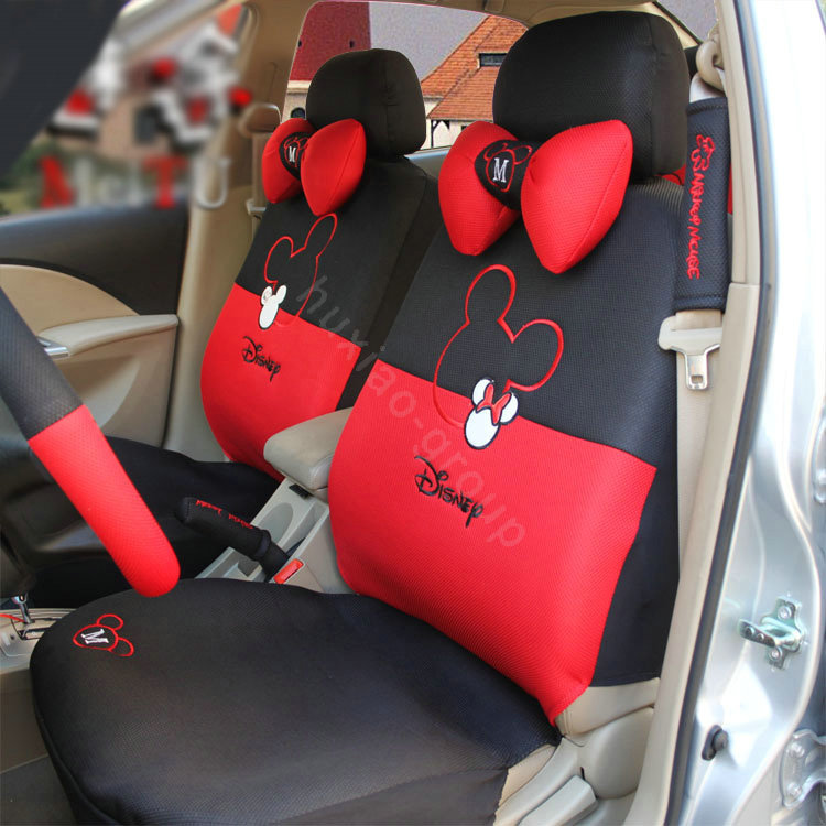 buy wholesale disney mickey minnie mouse universal auto car seat cover set 18pcs red black. Black Bedroom Furniture Sets. Home Design Ideas