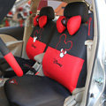 Disney Mickey Mouse head Universal Auto Car Seat Cover Set 18pcs - Red Black