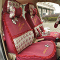 Floral print Bowknot Lace Universal Auto Car Seat Cover Set 21pcs ice silk - Rose