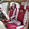 Floral print Lace Bowknot Universal Auto Car Seat Cover Set 21pcs ice silk - Rose
