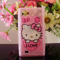 Hello kitty Bling Crystal Case Rhinestone Cover for LG P880 Optimus 4X HD - Pink