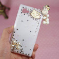 Hello kitty Tassels Bling Crystal Case Rhinestone Cover shell for LG P880 Optimus 4X HD - White