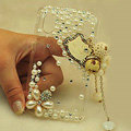 Kitty tassel Bling Crystal Case pearl Cover shell for LG E400 Optimus L3 - White