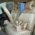 Round dot Lace Universal Auto Car Seat Cover Set 21pcs ice silk - Beige