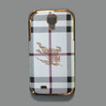 Burberry leather Case Hard Back Cover shell for Samsung GALAXY S4 I9500 SIV - White