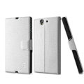 IMAK Slim leather Case support Holster Cover for Sony Ericsson L36i L36h Xperia Z - White