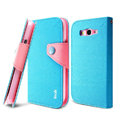 IMAK cross leather case Button holster holder cover for Samsung i9080 i9082 Galaxy Grand DUOS - Blue