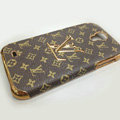 LOUIS VUITTON LV Luxury leather Case Hard Back Cover for Samsung GALAXY S4 I9500 SIV - Brown