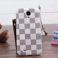 LV LOUIS VUITTON Classic plaid leather Case Hard Back Cover for Samsung GALAXY S4 I9500 SIV - White
