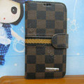 LV LOUIS VUITTON Classic plaid leather case Holster cover for Samsung GALAXY S4 I9500 SIV - Brown