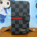 LV LOUIS VUITTON Classic plaid leather case Holster cover for Samsung GALAXY S4 I9500 SIV - Gray