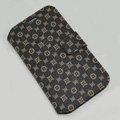 LV LOUIS VUITTON leather case button Holster cover for Samsung GALAXY S4 I9500 SIV - Coffee