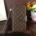 LV LOUIS VUITTON leather flip case Holster cover for Samsung GALAXY S4 I9500 SIV - Brown