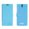 Nillkin Fresh leather Case Bracket Holster Cover Skin for OPPO X909 Find 5 - Blue