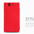 Nillkin leather Case Holster Cover Skin for Sony Ericsson L36i L36h Xperia Z - Red (High transparent screen protector)
