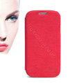 Nillkin leather Cases Holster Skin Cover for Samsung GALAXY S4 I9500 SIV - Red (High transparent screen protector)