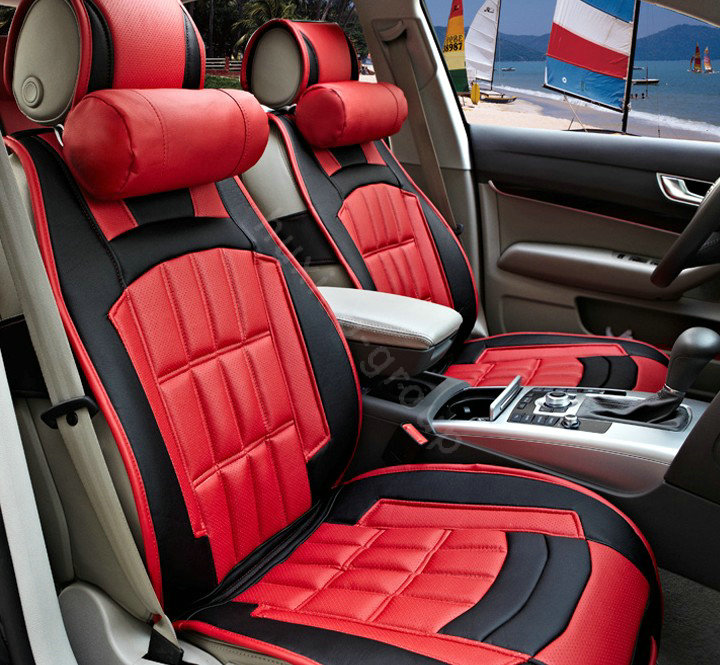 buy wholesale fortune custom auto car seat cover cushion set artificial leather red black from. Black Bedroom Furniture Sets. Home Design Ideas