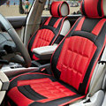 FORTUNE Custom Auto Car Seat Cover Cushion Set artificial leather - Red Black